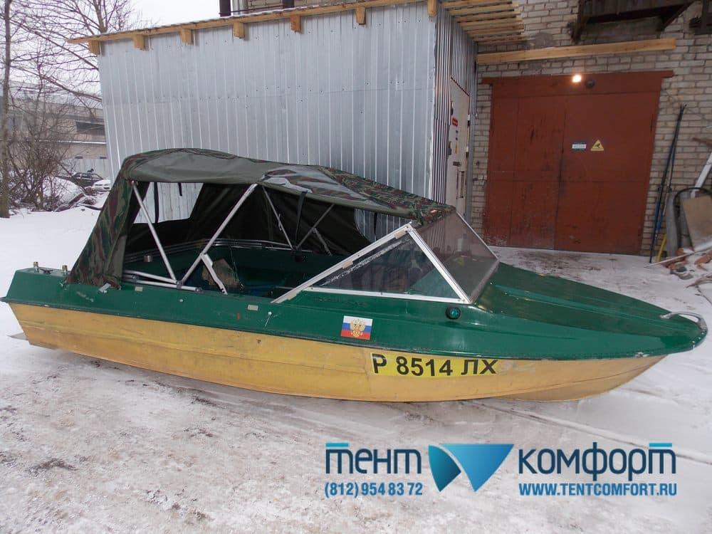 Тент для лодки Крым на двухопорных дугах