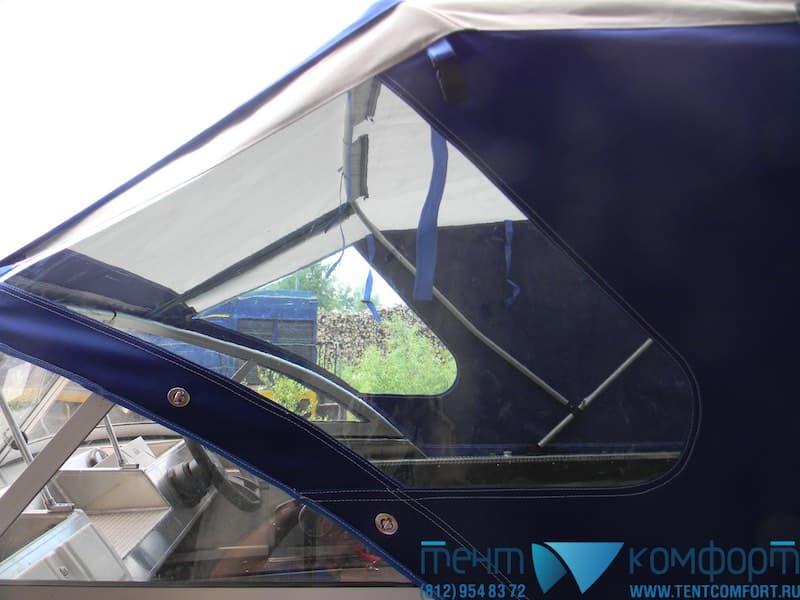 Тент для лодки с капитанскими окнами