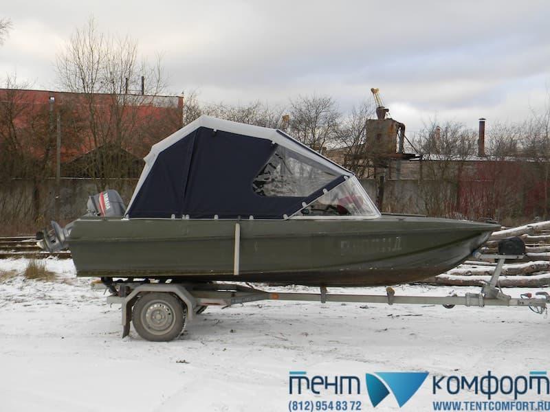 "Ходовой тент на Казанка 5М2 в положении ""Рубка"""
