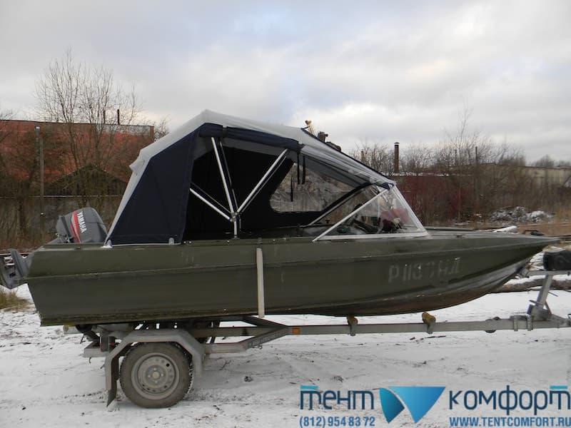 """Ходовой тент на Казанку-5М2 в положении """"Биминитоп"""""""