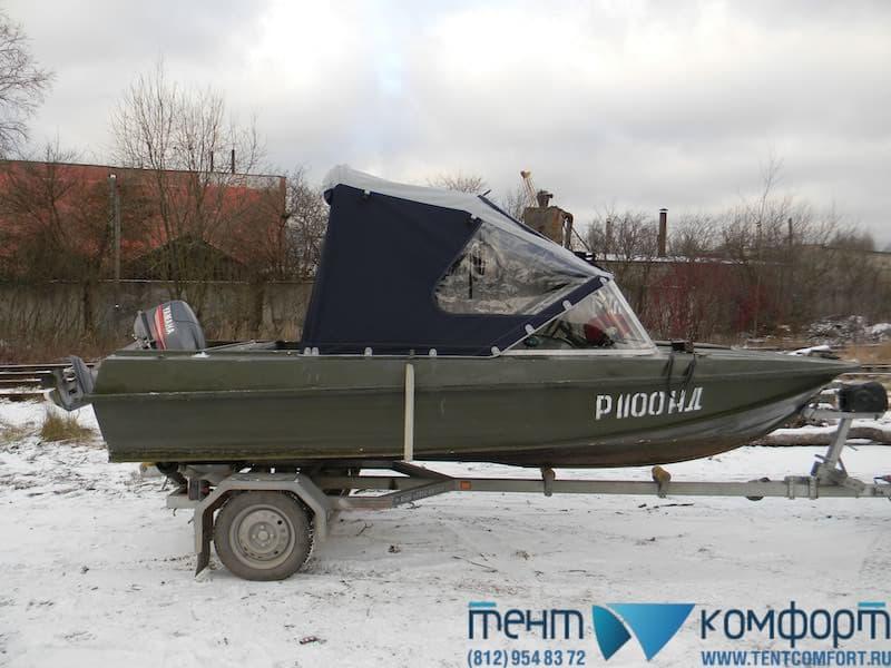 """Ходовой тент на Казанка-5М3 в положении """"Полурубка"""""""
